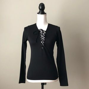 Forever21 black tie up long sleeve top size S